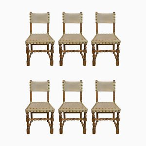 Vintage Spanish Leather, Brass Stud & Oak Dining Chairs, 1970s, Set of 6