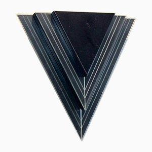 Applique da parete triangolari moderne in vetro e acciaio, Paesi Bassi, set di 2