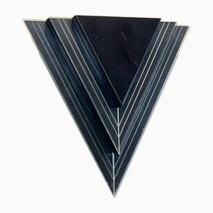 Dutch Modern Glass & Steel Triangular Wall Sconces, Set of 2