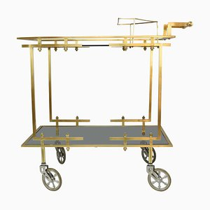 French Brass Bar or Serving Cart Trolley, 1970s