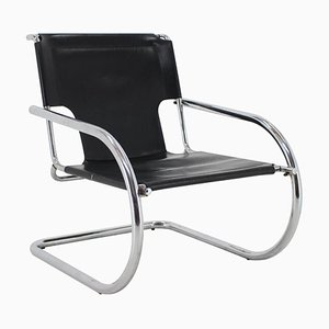 Italian Chrome and Leather Cantilever Chair from Arrben, 1960s