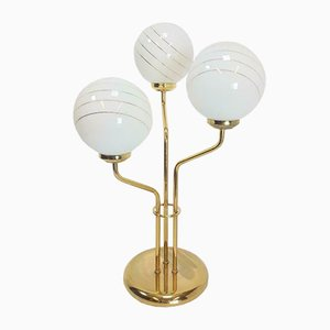 Vintage Hollywood Regency Brass & Frosted Glass Bulb Table Lamp