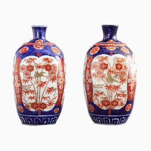 Japanese Meiji Period Square Imari Vases, 1890s, Set of 2