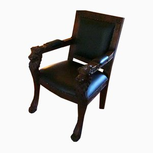 Antique Armchair with Lion Shaped Ornaments