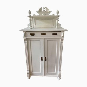 Antique White Cabinet with Wood Carvings