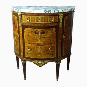 Vintage Marquetry Half Moon Dresser