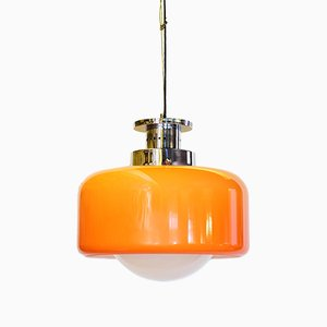 Hanging Lamp in Glass and Orange Plastic, 1960s