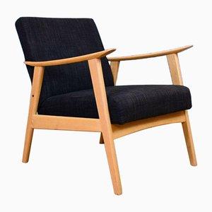 Mid-Century Modern Danish Grey Wool & Beech Armchair, 1960s
