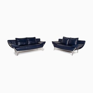 Dark Blue leather 1600 2-Seat Sofas from Rolf Benz, Set of 2