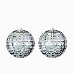 Grey Murano High-End Glass Pendant Lamps in the Style of Venini, 1960s, Set of 2