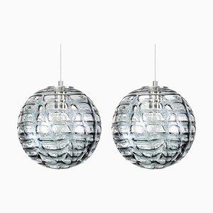 Lampes à Suspension Murano Grises en Verre de Style Venini, 1960s, Set de 2