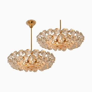 Brass and Crystal Glass Chandeliers by Palwa for Bakalowits & Söhne, Austria, 1960s, Set of 2