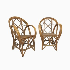 Dutch Rattan Armchairs, Set of 2