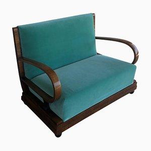 Sofá Art Déco de terciopelo verde claro y nogal, años 30