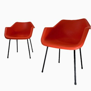 Orange Armchairs by Robin Day for Hille, 1960s, Set of 4