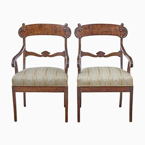 19th Century Swedish Birch Armchairs, Set of 2