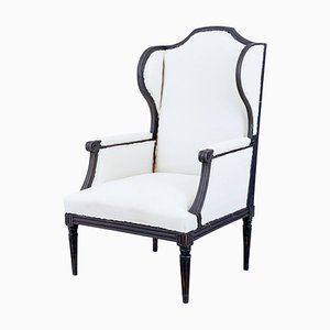 Large 19th Century French Painted Wingback Armchair
