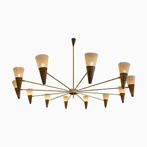 Vintage Brass and Ivory Color Ceiling Lamp by Diego Mardegan