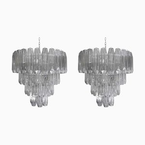 Large Pearl Grey Blown Murano Poliedri Glass Chandelier, 1980s