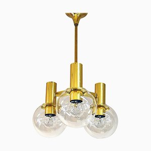 Brass Ceiling Lamp with 3 Downwards Glass Domes, Sweden, 1960s
