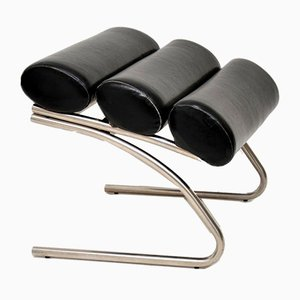 Vintage Chrome and Vinyl Foot Stool, 1970s