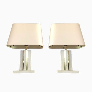 Brass and Travertine Table Lamps, 1970s, Set of 2