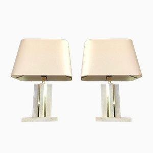 Messing und Travertin Tischlampen, 1970er, 2er Set