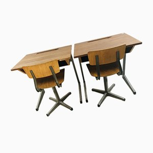 Vintage Dutch School Wooden Desks and Chairs Set, 1950s