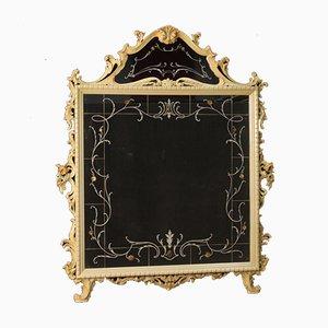 Italian Lacquered Floral Decor Mirror, 1960s