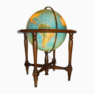 Italian Wood and Brass Illuminated Globe Cabinet, 1950s