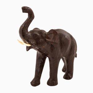 Vintage Papier-mâché and Leather Elephant Sculpture, 1970s