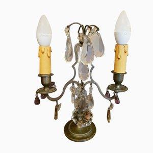 Lampade da tavolo Patina antiche in ottone e argento, inizio XX secolo, set di 2