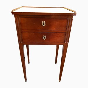 19th Century Louis XVI Style Mahogany Nightstand with Marble Top