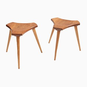 French Elm and Beech Stools, 1950s, Set of 2