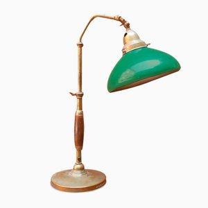 Italienische Mid-Century Holz und Metall Minister Tischlampe, 1920er
