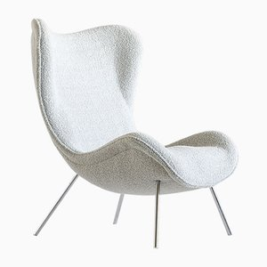 German Pearl Dedar Bouclé Madame Lounge Chair by Fritz Neth for Correcta, 1950s