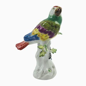 Antique Porcelain Parrot Figurine from Meissen
