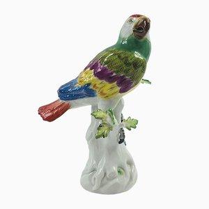 Statuetta antica a forma di pappagallo in porcellana di Meissen