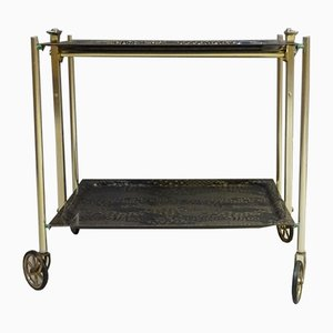 Mid-Century Black Gold Folding Trolley and Serving Tray Set from Textable