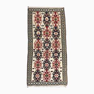 Türkischer Vintage Kelim Teppich in Rot, Grün, Beige und Navy, 1950er