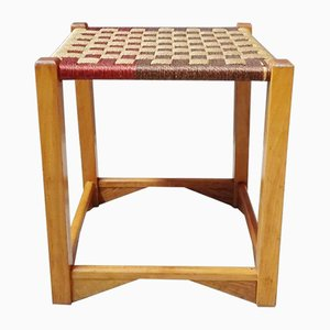 Wood and Wicker Stool, 1970s