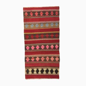 Vintage Turkish Red, Pink, Black, and Beige Wool Kilim Rug, 1950s
