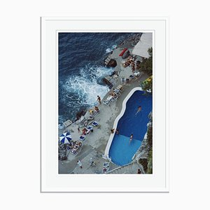 Pool on Amalfi Coast Oversize C Print Framed in White by Slim Aarons