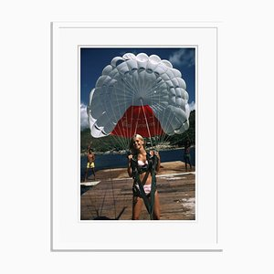 Paraglider Oversize C Print Framed in White by Slim Aarons