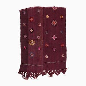 Kleiner türkischer Vintage Kelim-Teppich mit türkis-roten, kastanienbraunen & lila Motiven aus Wolle, 1950er