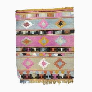 Small Vintage Turkish Pink, Blue, Black, and Beige Wool Kilim Rug, 1950s