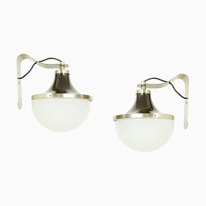Nickel-Plated and Painted Metal and Glass Model PI Sconces by Sergio Mazza for Artemide, 1960s, Set of 2