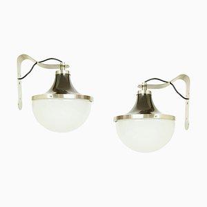 Vernickelte und Lackierte Metall und Glas Modell PI Wandleuchten von Sergio Mazza für Artemide, 1960er, 2er Set