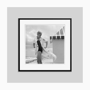 Pulitzer on the Beach Silver Fibre Gelatin Print Framed in Black by Slim Aarons