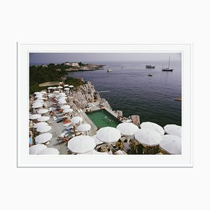 Pool by the Sea Oversize C Print Framed in White by Slim Aarons